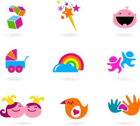 Set of colorful icons / logos around childhood theme Stock Photo - 6597740