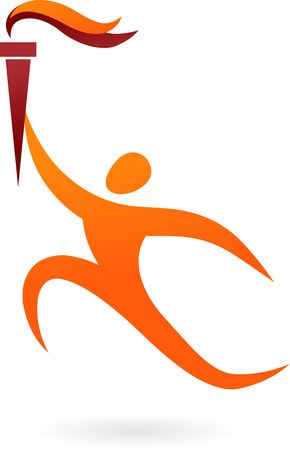 sportsmen: Running figure with sports competition torch