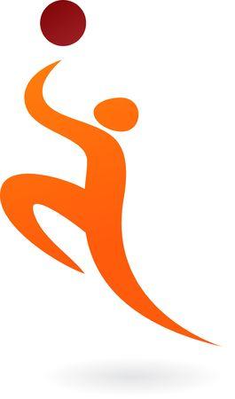 elegance silhouette: Jumping basketball player
