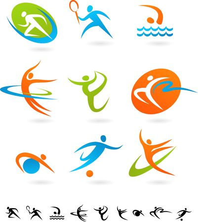 badminton sport symbol: Set of colorful sport icons Stock Photo