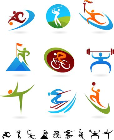 skying: Set of colorful sport icons Stock Photo