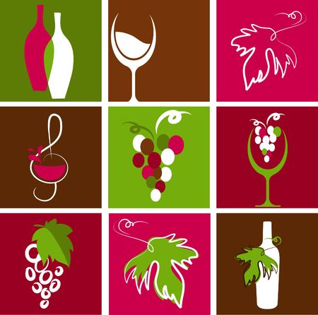 french wine: Collection of retro wine icons and logos Illustration