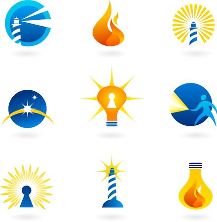 Collection of light and fire icons and logos