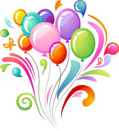 Splash background with colourful balloons Illustration