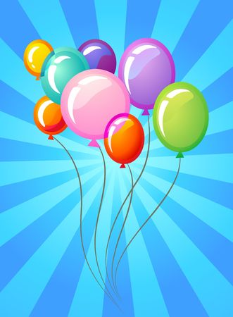 Birthday background with colourful balloons Vector