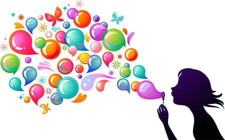 bulles de savon: Jeune fille souffler des bulles de savon