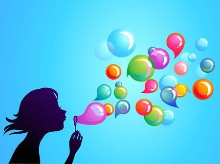 bulles de savon: Jeune fille soufflant de bulles de savon