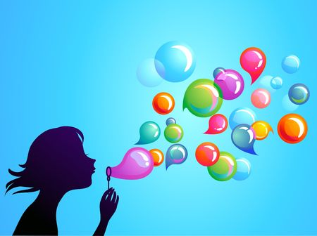 Young girl blowing soap bubbles Vector
