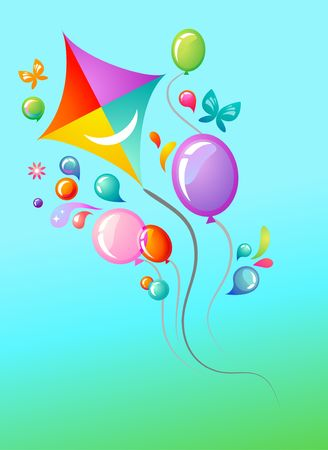 Sky-blue background with kite and balloons Vector