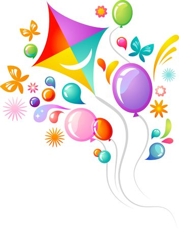 Colourful background with kite and balloons Vector