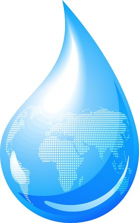 reflection in water: Blue drop with continents outline