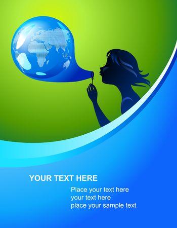 planeta verde: Fondo con la silueta de una chica joven y la burbuja de la tierra