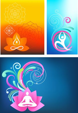 women yoga: Three colorful yoga backgrounds Illustration