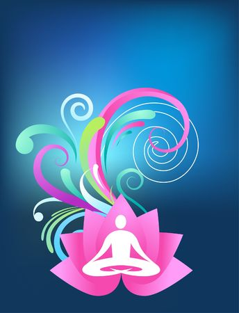 'peace of mind': Blue yoga background with lotus and splash pattern Illustration