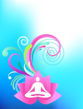 Sky blue yoga background with lotus and splash pattern Vector