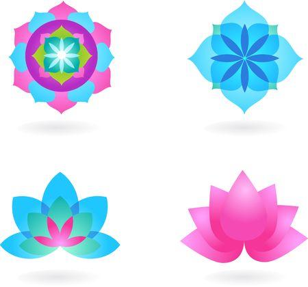logo medicina: Cuatro fondos de yoga abstracta