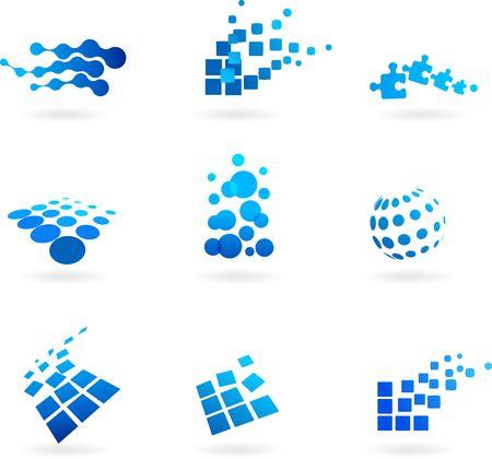logo informatique: Collection d'ic�nes bleues abstraite  logos