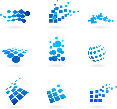 digital paper: Collection of abstract blue icons  logos
