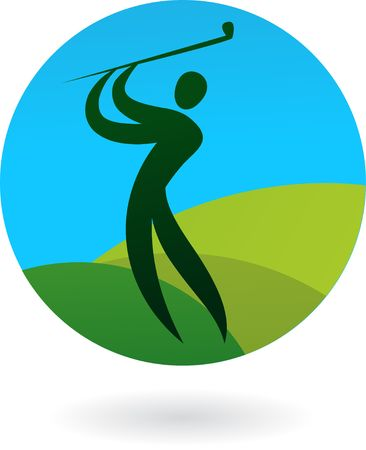 aim: Abstract outline of a golfer swinging Illustration