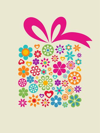 Present box with floral pattern Vector
