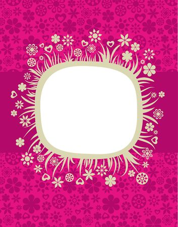 Vintage floral frame with pink background Vector