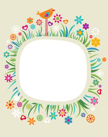 beauty birthday: Colourful vintage frame with flowers and a bird Illustration