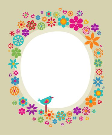 Colourful vintage frame with floral border Stock Vector - 6900271