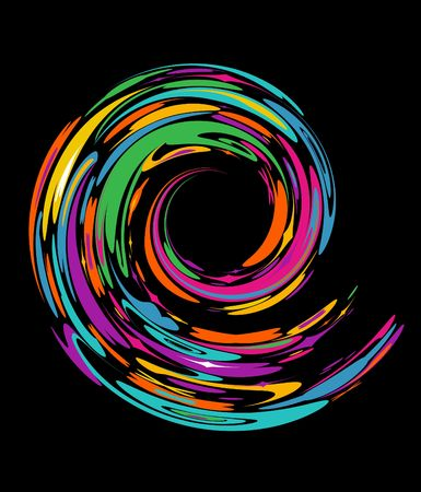 Colourful spiral on a black background Vector