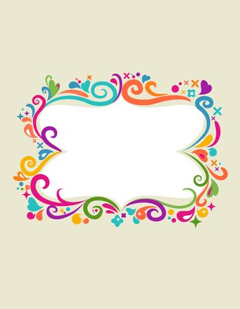 Colourful vintage frame with floral design elements  Vector