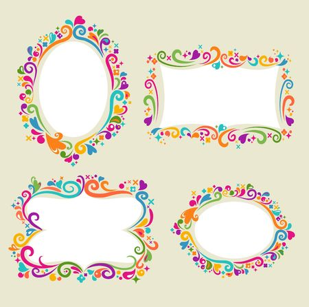 Collection of four floral frames Stock Vector - 6900283
