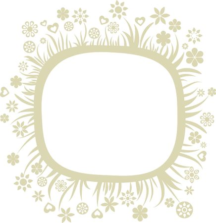 Retro greeting card template with floral frame Stock Vector - 6900259