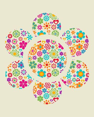 Flower with a pattern composed of floral elements  Vector