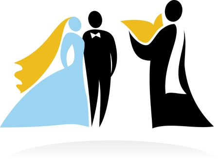 Wedding ceremony with bride, groom and priest Stock Vector - 6900190