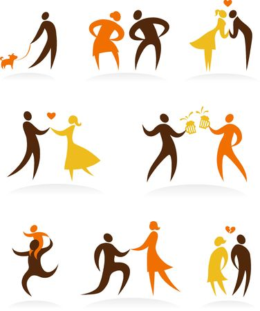 Collection of wedding dancing  icons Stock Vector - 6900174