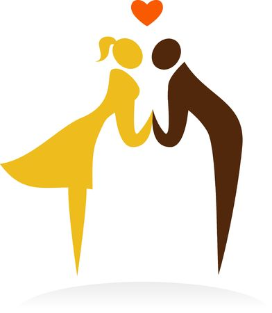 Bride and groom kissing Stock Vector - 6900191