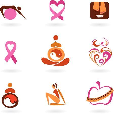 slim women: Colecci�n de iconos de concienciaci�n y prevenci�n de la salud femenina Vectores