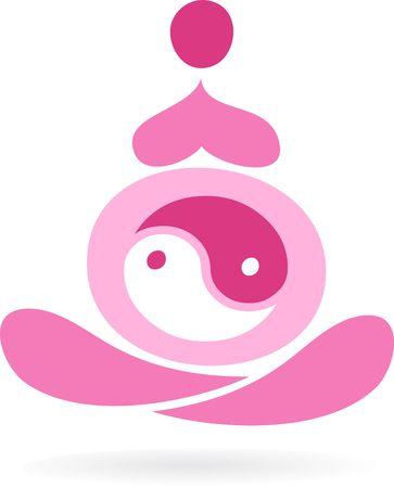 yang yin: Esquema de una mujer embarazada con el s�mbolo Yin Yang  Vectores
