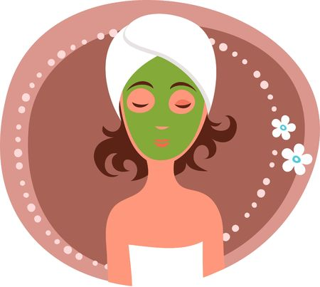 massage therapist: Cute woman receiving a facial mask treatment Illustration