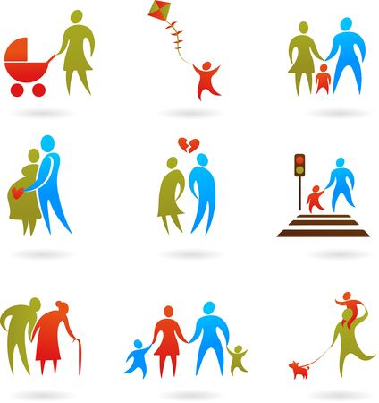 Collection of family icons Vector