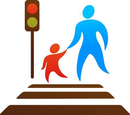 Pictogramme parent et enfant, traverser la rue.  Banque d'images - 6900273