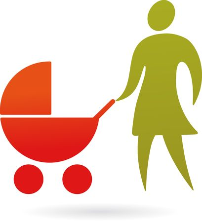 A silhouette of a mother with baby carriage Illustration