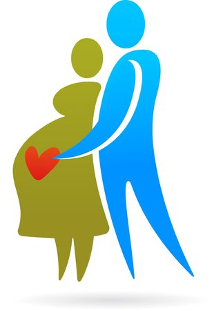 Silhouette of pregnant woman with a husband