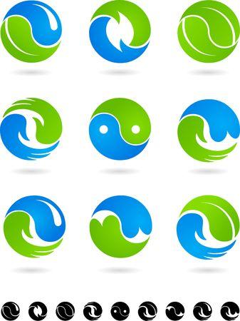 yin et yang: Jeu de symboles de Yin Yang bleues et vertes  Illustration