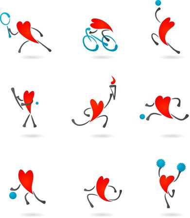 skying: Collection of sport icons with heart character