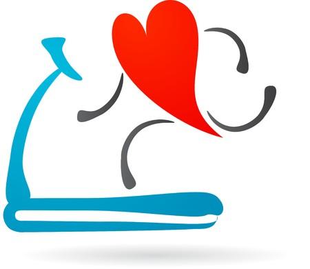 Hearth character running on a treadmill Stock Vector - 6900322