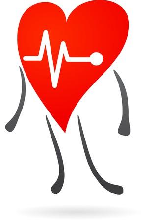 seres vivos: Carácter de hogar con gráfico de EKG  Vectores