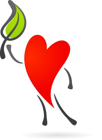 cardio workout: Hearth character with a green leaf