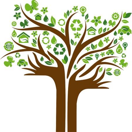 logo recyclage: Arbre vert avec coffre en forme de mains et de nombreuses ic�nes �cologiques et logos