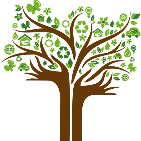 recycle symbol: Green tree with hands-shaped trunk and many ecological icons and logos