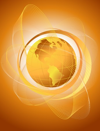 glob: Orange globe with gradient pattern Illustration